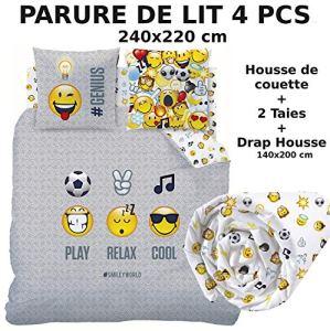 Smiley !!! Pack !!! Parure de lit + Drap Housse !!! 100% Coton – Housse de Couette (240×220) + 2 Taies d'oreiller (63×63) + Drap Housse (140×190) – Emoji Emoticons