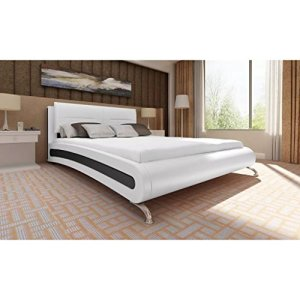WEILANDEAL lit en Cuir Artificiel Blanc 140x 200cm Lits 0