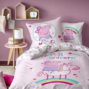 Peppa Pig Unicorn Parure de Couette, 100% Coton, Rose Poudre, 140 x 200/63 x 63 cm – Taille française