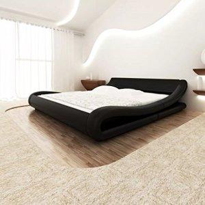 WEILANDEAL Structure de lit 140x 200cm en Cuir Artificiel roulé Noir Lits Hauteur de Les tablettes: 9,5–12,5cm