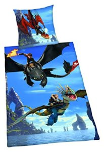 Herding DREAMWORKS DRAGONS Parure de Lit Réversible, Housse de Couette 135 x 200 cm, Taie d'Oreiller 80 x 80 cm, Coton/Renforcé