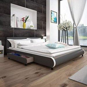 WEILANDEAL lit avec 2tiroirs de Cuir Artificiel Gris 180x 200cm Lits avec Deux tiroirs