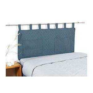 COTE DECO tete de lit matelassée microfibre lavée moji 160×65 cm – bleu denim
