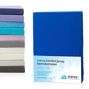 Magita Etérea Comfort Drap housse jersey dans de nombreuses couleurs différentes, 180x 200–200x 200cm, 100 % coton, bleu, Topper 140×200 cm – 160×200 cm