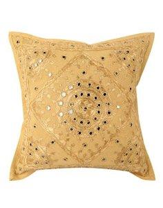 Taies d'oreiller en coton fait main indien, couvre-lit bohème taie d'oreiller insérer décoratif brodé sac à main miroir travail Boho canapé taie d'oreiller décoration housse de coussin