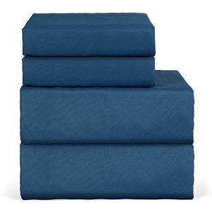 Oakome Parure de Lit 4 Pièces Drap Housse-Draps Plat-2 Taies d'oreiller 1800 Thread Count Souple avec 100% Polyester Kit de Literie Hypoallergénique (Silk Blue, 200 * 245-140 * 190-50 * 75cm)