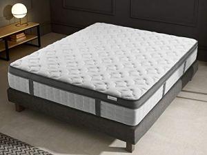 Ensemble mémoire de Forme + sommier 140×190 Pur Confort Hbedding – 7 Zones de Confort – épaisseur Matelas 25cm