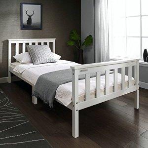 European Beds Direct Unique 0,9m Cadre de Lit en Bois en Blanc pin Massif Bois européen Adulte Enfants Enfant Enfant, Bois Dense, Blanc, Jumeau