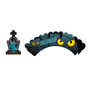 Lizhuofush Practical 12 Series of Halloween Cake Decoration of sorcière Château d 'araignée Chauve – Souris Cupcake Decoration of Halloween Party(None Style 1)