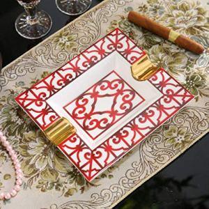 CDFD Aschenbecher handgefertigt rechteckige Porzellan Zigarren Aschenbecher Rauchzubehör, Rot