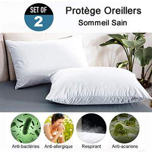 RICHAIR Protege Oreiller Impermeable Set de 2(60 * 60cm)-Fermeture Zip-Respirant – Anti Sueur – Anti Acarien-Blanc