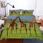 Housses de Couettes Draps Parure de Lit Ensemble de 4 Pièces, Morbuy Impression 3D de Girafe Microfibre Ensemble de Literie avec Taies d'oreillers et Feuille (Herbe,200x200cm)