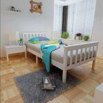 Cadre de lit en bois de pin cadre de lit simple cadre en bois,White-3FT