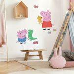 RoomMates Sticker géant repositionnable Peppa Pig et George Pig 45,7CM X 101,6CM