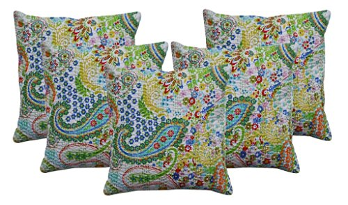 Sophia Art Lot de 5 housses de coussin indiennes faites à la main en coton motif cachemire Kantha bohème (blanc)