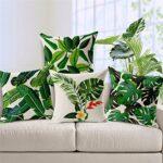 House de Coussin à Motif Feuille – Housse décorative par Coliang – Housse en Lin et Coton à imprimé Feuilles Tropicales Vertes – pour canapé, Maison – Capa de Almofadas – 45x 45cm
