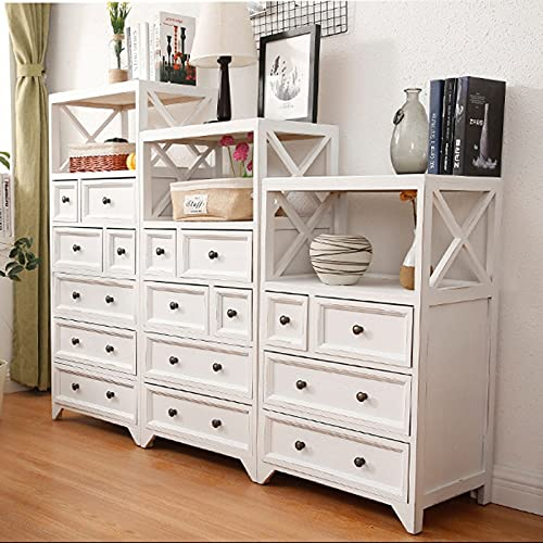 SUNTAOWAN Cabinet de Rangement rétro en Bois Massif Nordique Type de tiroir Chambre à Coucher Chambre à Coucher Armoire Multi-Couche Tiroir étagère Multicouche (Color : Retro White, Size : 5 Layer)