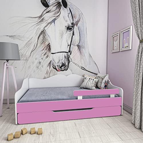 Children's Beds Home – Lit simple Monaco – Pour enfants et jeunes enfants – Taille 140 x 70 cm, couleur blanc – Rose, grand tiroir, matelas 12 cm en mousse haute résilience