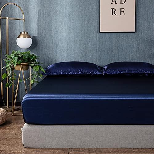 Chytaii Drap Housse 180×200 cm Bleu Foncé – Satin de Soie Doux Respirant Extensible Protège Matelas Drap – Jusqu'à 25 cm de Hauteur