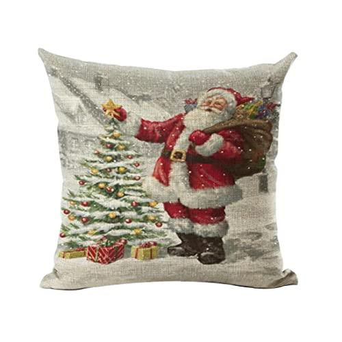 Coussin d'oreiller de Noël Coussins Santa Claus Motif Santa Claus Taie d'oreiller Soft and Lin pour Le canapé à Domicile Coque d'oreiller de Noël