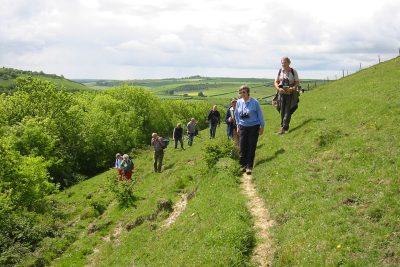 Walkers on a grassy hillside