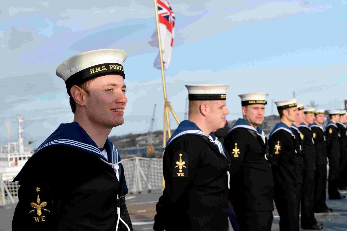 Dorset Echo: ALL ABOARD: Sailors line up on HMS Portland