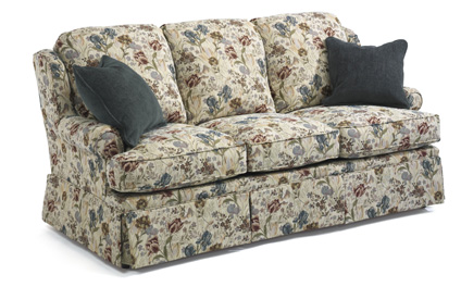 flexsteel sofa sets chaise with storage danville set traditional skirted petite