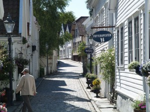 Old Stavanger with now white picturesque wooden houses