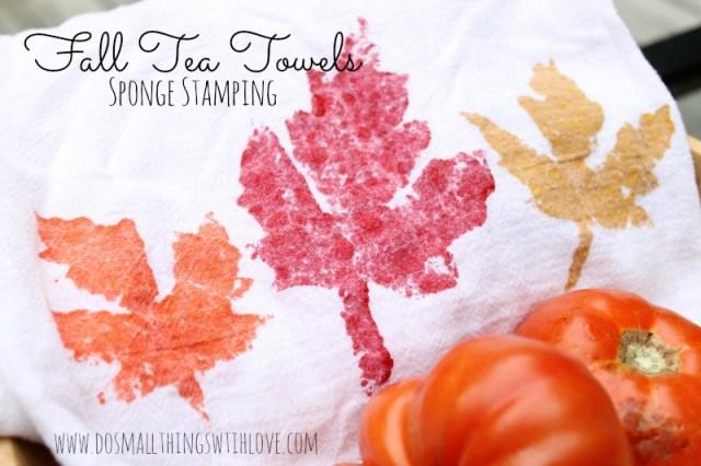 Fall Tea Towels Sponge Stamping