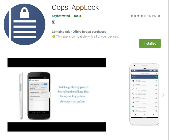 Oops AppLock Different App lock Android Application Do Something New