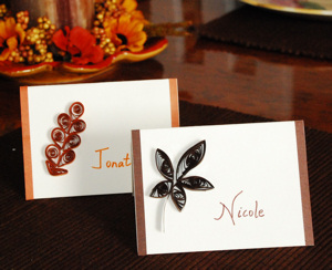Quilled Fall Leaf Place cards FallThanksgiving Craft