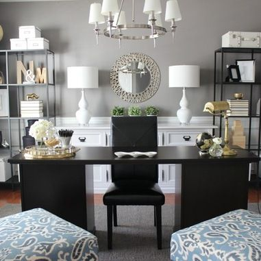 black and white home office 3 Ways to Create the Perfect Home Office - Dot Com Women