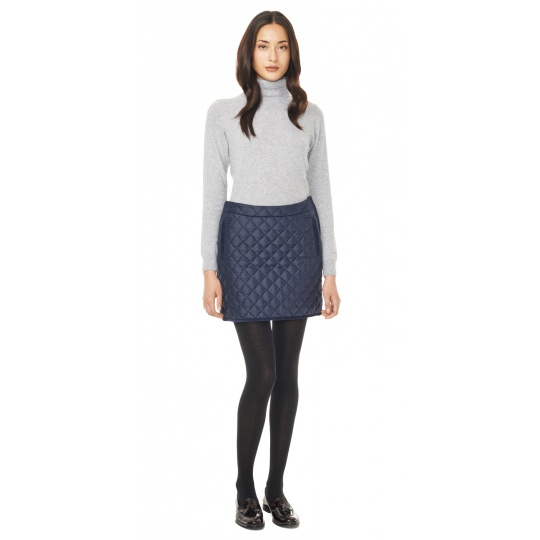 Outfit Inspiration - navy quilted skirt, high neck top