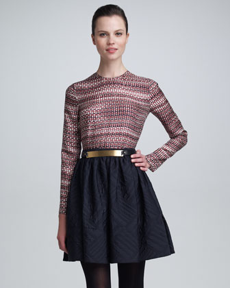 Quilted Jacquard Skirt in Navy by Maison Rabih Kayrouz