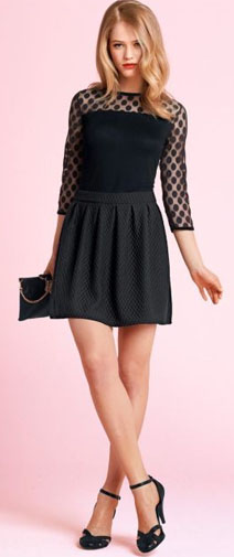 Party Outfit Inspiration - quilted skirt, bi-material top, black clutch and heels