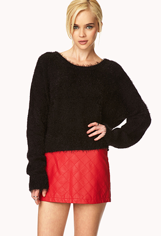 Outfit Inspiration - Red quilted skirt with black batwing sleeves top
