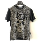 "PP ""Skull"" black short sleeve round neck t-shirt - dot made"