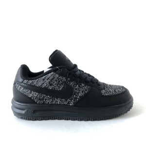 Nike Air Lunar Force 1 flyknit black low top sneakers