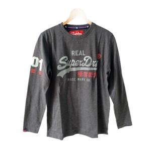 SuperDry Dark Grey long sleeve round neck t-shirt