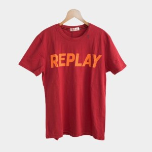 "Replay ""Orange typography"" t-shirt - Red - DOT MADE"