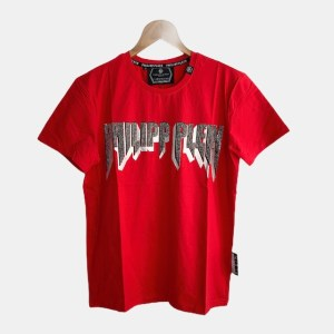 """PP """"Typography"""" shiny beads round neck t-shirt - Red - dot made"""