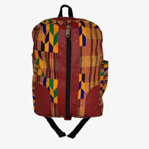 "Red Leather ""Kente"" backpack - dot made"