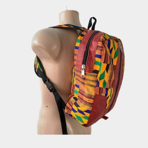 "Red Leather ""Kente"" backpack – dot made"