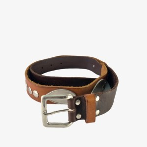 OB Three brown leather belt - dot made