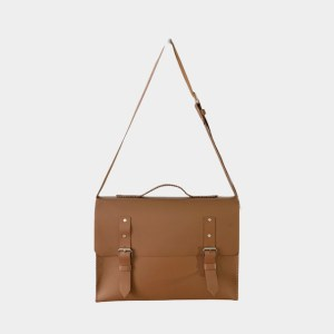 OB Clay brown leather laptop bag - dot made