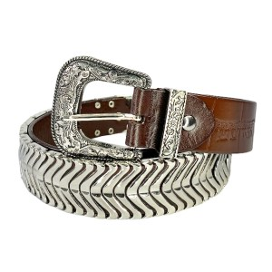 "Nanni ""Silver scales"" brown belt - DOT MADE"