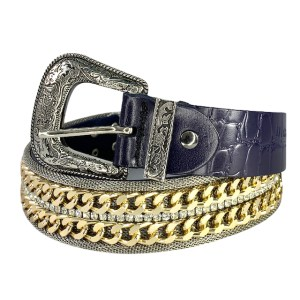 "Nanni ""Gold diamonds"" blue belt - dot made"