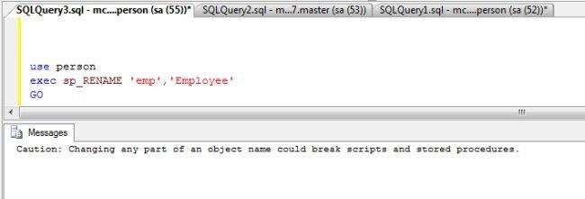 Rename Table In SQL Server 2008