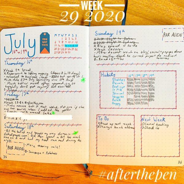 My Week 29 2020 Spread #afterthepen