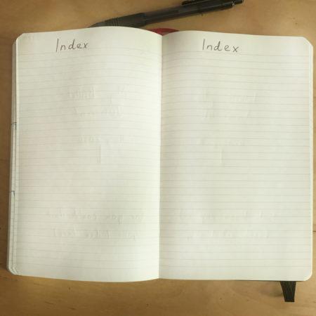 Simple Bullet Journal Setup Index
